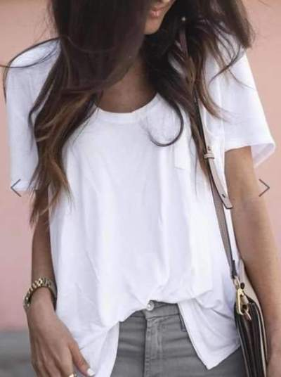 Casual Loose Pure Round neck Short sleeve T-Shirts