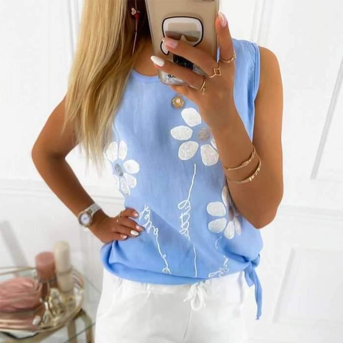 Casual Print Round neck Sleeveless T-Shirts