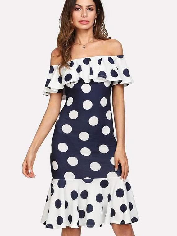 Off shoulder Point Bodycon Dresses