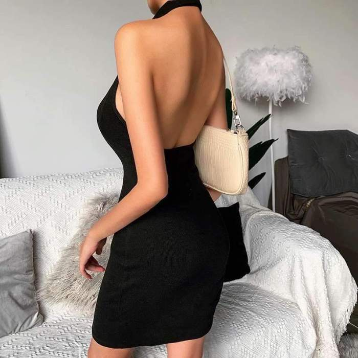 Sexy Pure Lapel Backless Sleeveless Bodycon Dresses