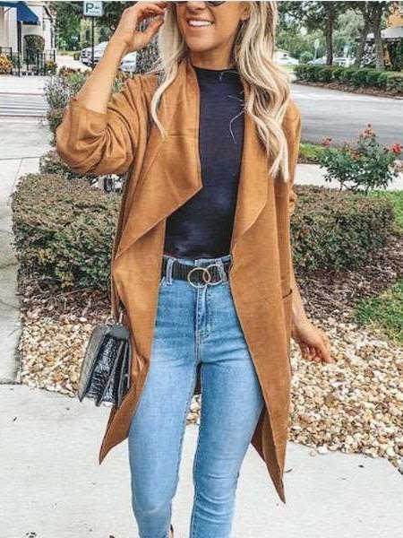 Fashion Pure Long sleeve Lapel Trench Coats