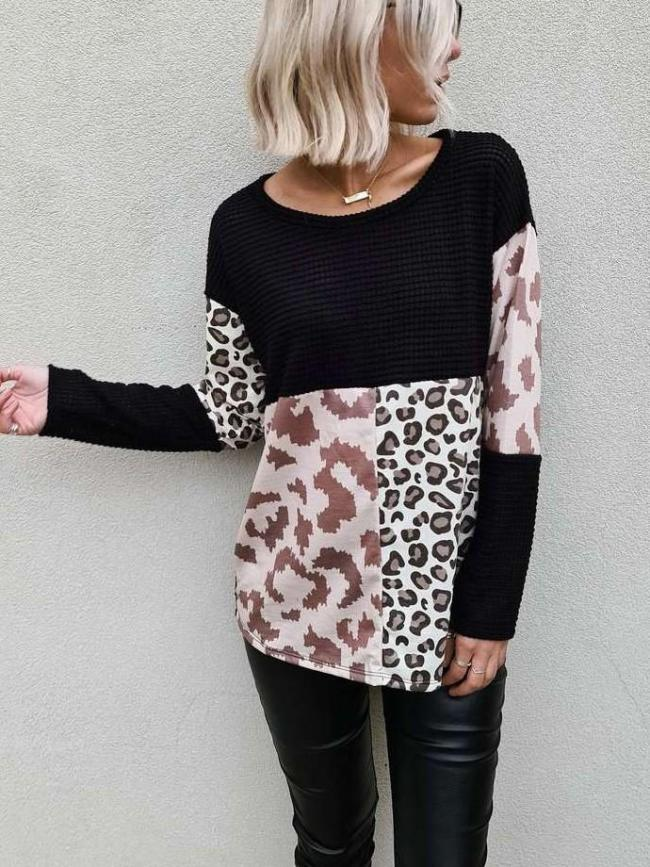 Fashion Gored Print Round neck Long sleeve Sweaters