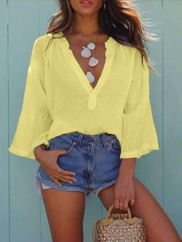 Deep V neck shirt loose casual long sleeve T-shirt