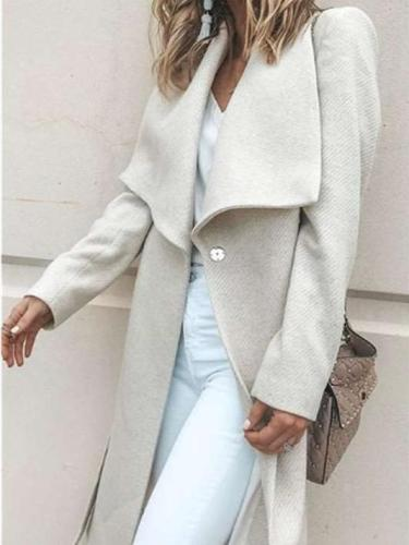 Fashion Pure Lapel Long sleeve Woman Trench Coats