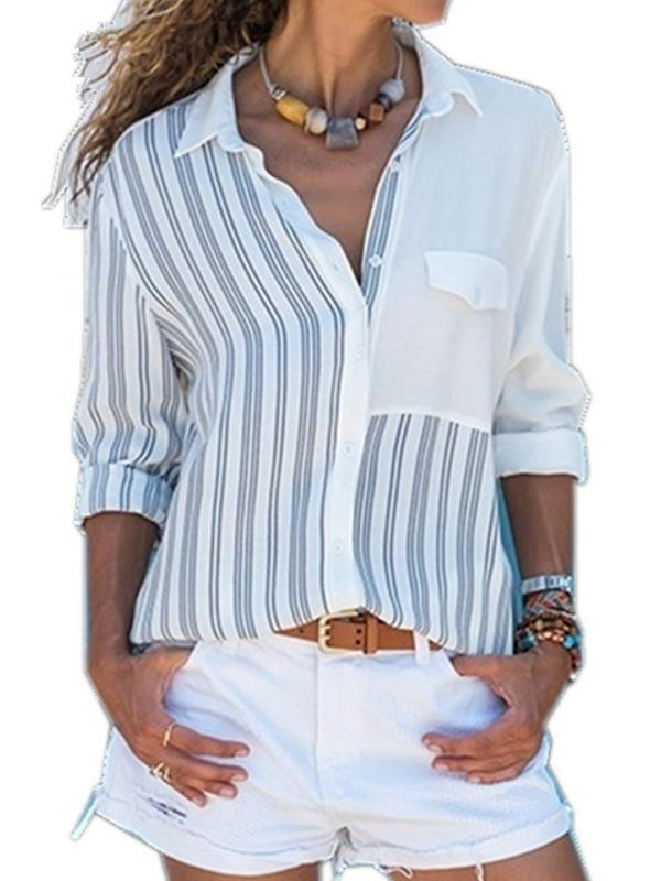Casual Striped Single Breasted Blouses