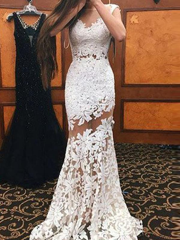 Sexy Elegant lace cut-out sleeveless gown evening dresses