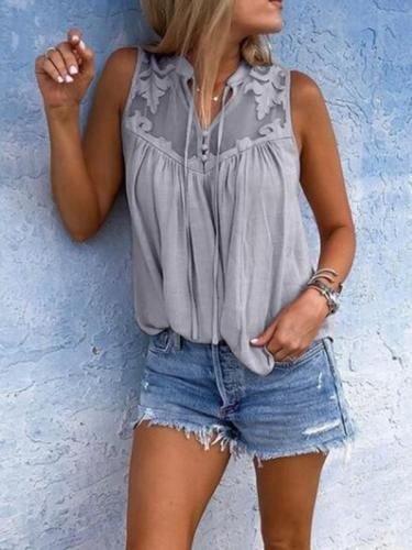 Pleated sleeveless collared lace v-neck sleeveless blouses