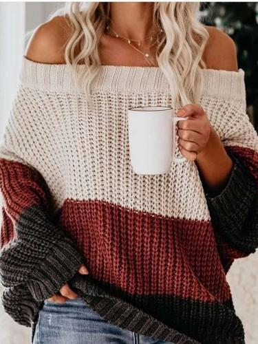 Fashion Loose Off shoulder Long sleeve Sweaters