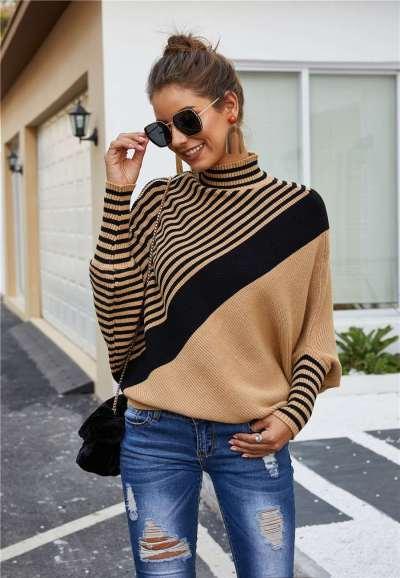 Fashion Stripe High collar Long sleeve Sweaters