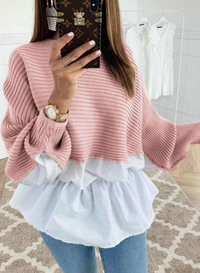 Fashion Knit Gored Long sleeve Sweaters