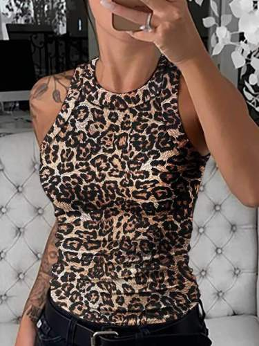 Sexy Round neck Sleeveless plain printed women vests