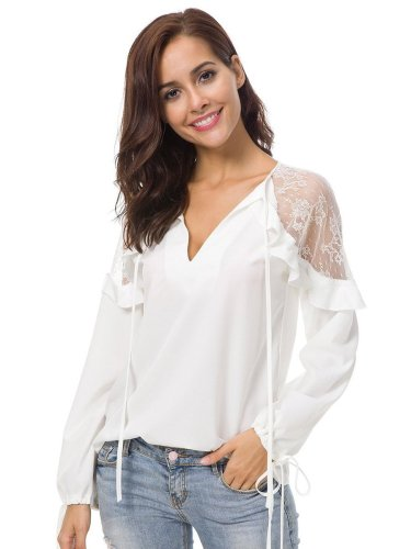 Fashion Lace V neck Gored Blouses