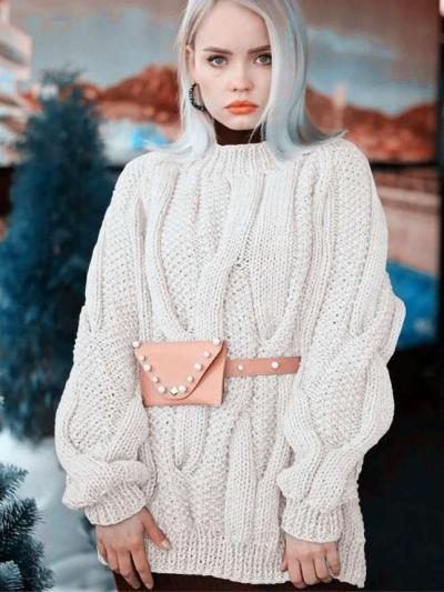 Casual Loose Pure Round neck Long sleeve Knit Long Sweaters