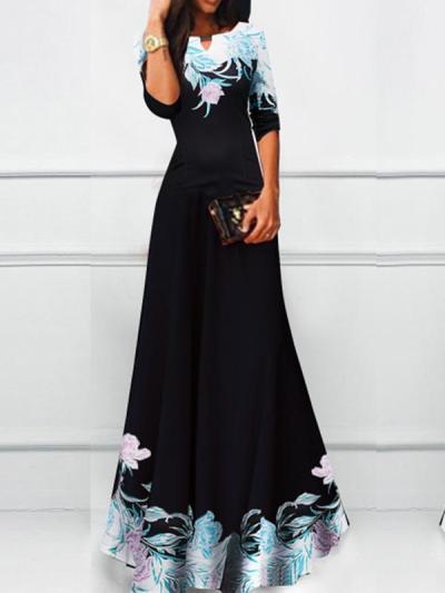 Elegant Woman Half sleeve Print Flory Maxi Dresses