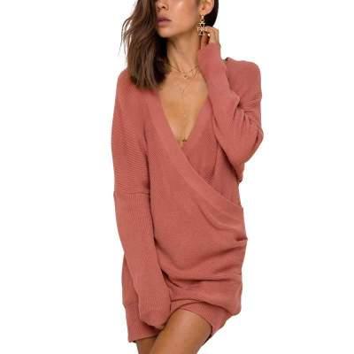 Sexy V neck Knit Long sleeve Bodycon Dresses