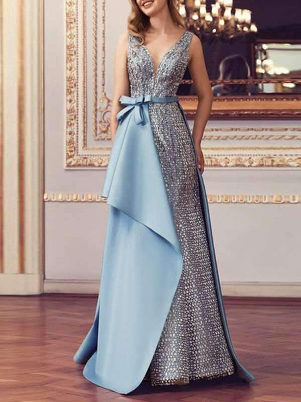 Sexy v neck women fashion long skater knownot evening party dresses