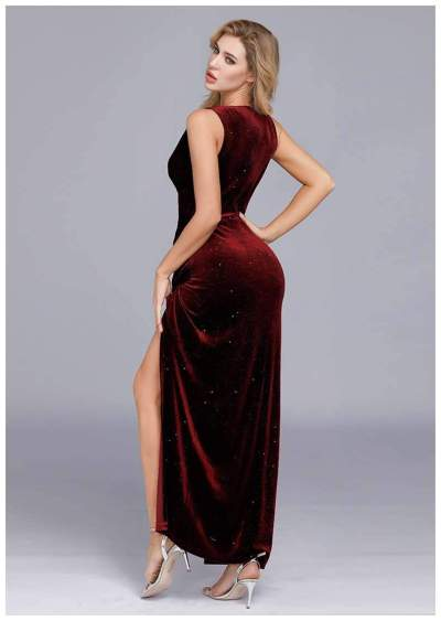 Fashion Sexy V neck Vent Sleeveless Velvet Evening Dresses