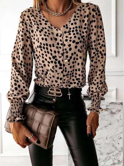 Fashion Point print V neck Long sleeve Blouses