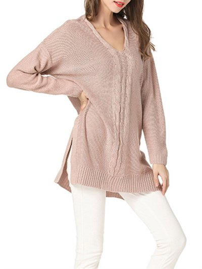 V Neck Cable Needle Woman Sweater