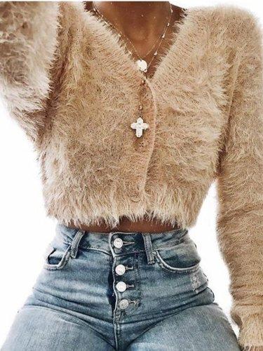 Long Sleeve Plush Button Up Coat Candigans