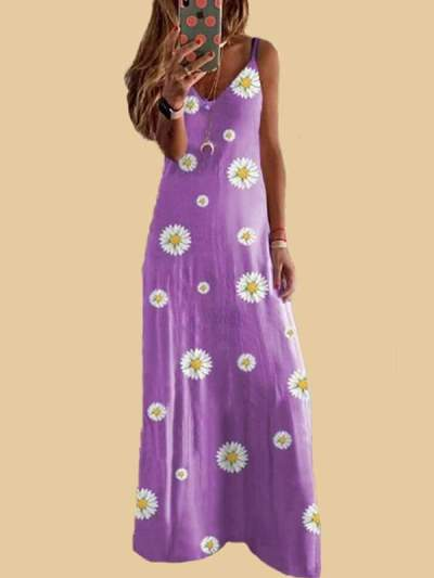 Small Daisy print slim strap long vacation dresses