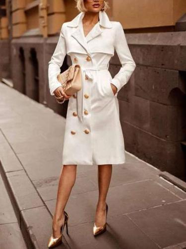 Fashion Pure Long sleeve Lapel  Fastener Coat Dresses