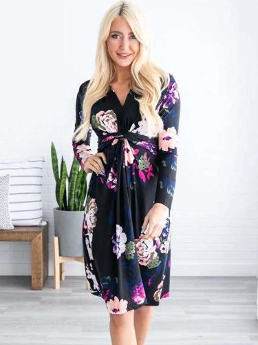 Casual Print V neck Long sleeve Skater Maxi Dresses