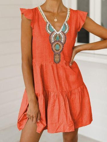 Printed v-neck dress short sleeve women Shift dresses
