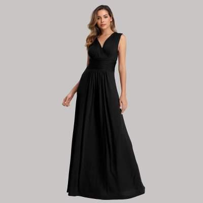 Fashion V neck Pure Sleeveless Evening Dresses