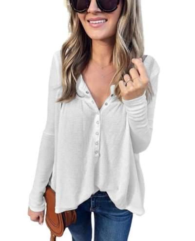 Fashion V neck Long sleeve  Fastener T-Shirts