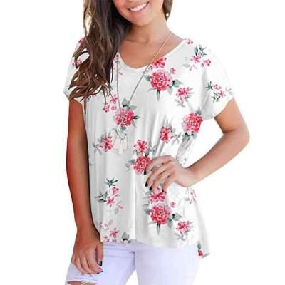 Fashion Print V neck Short sleeve T-Shirts
