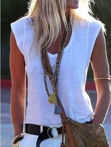 Fashion Casual Pure V neck Sleeveless T-Shirts