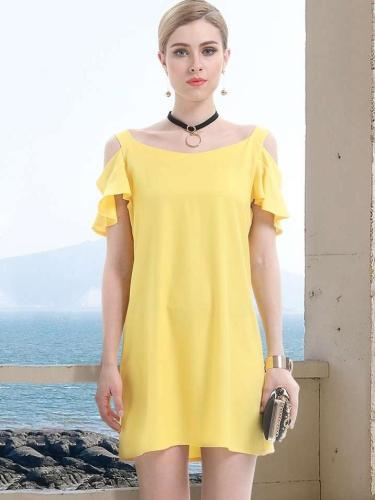 Fashion Pure Off shoulder Short sleeve Vest Shift Dresses