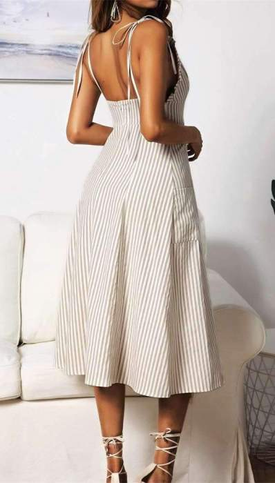 Sexy Stripe  Falbala Vest Skater Dresses