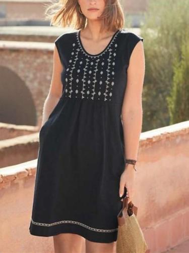 Casual Print Round neck Sleeveless Pocket Shift Dresses
