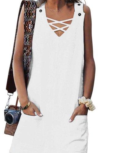 V neck Sleeveless Pure Shift Dresses