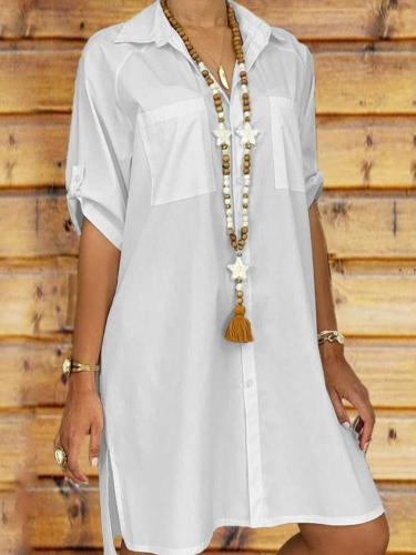 Fashion Pure Short sleeve Lapel Blouses