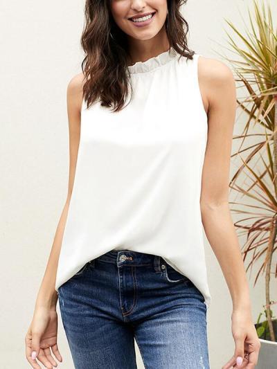 Women stand collar sleeveless T-shirts