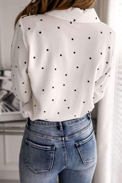 Fashion Point print Polo Pocket Long sleeve Blouses