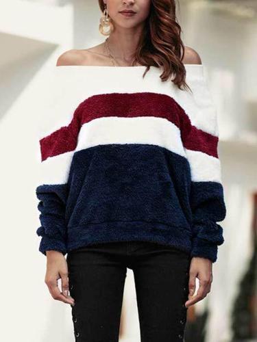 Word Collar Off Shoulder Color Block Striped Long Sleeve Sweatshirts