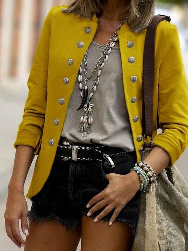 Fashion Casual Pure Fastener stand collar Long sleeve Blazer