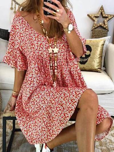 Fashionable women's printed short sleeve vintage shift dresses