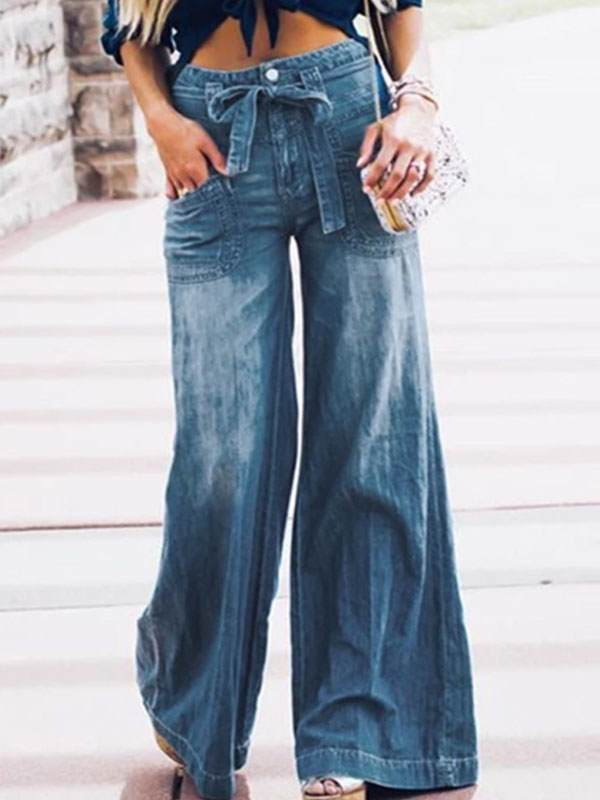Women fashion denim blue bell bottoms horn trousers pants