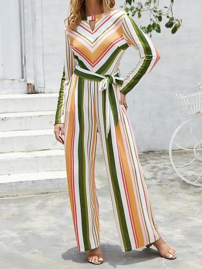 Striped belted long-sleeved jumpsuits