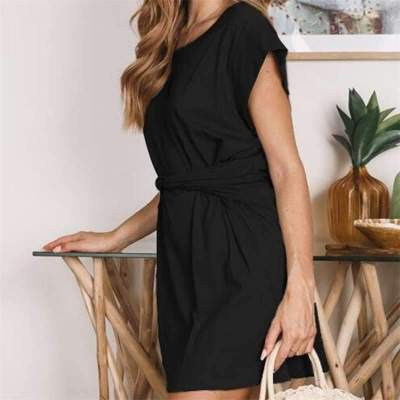 Fashion Sexy Pure Round neck Short sleeve Lacing Shift Dresses