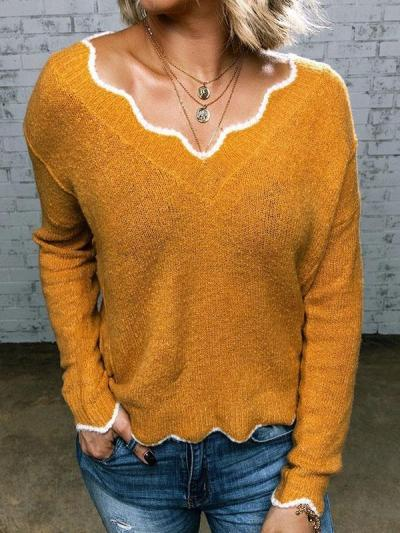 Women v neck long sleeve sweet sweaters