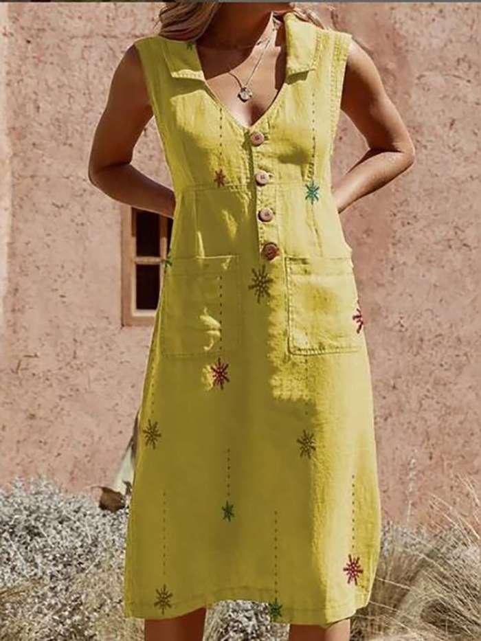 Commuting V Neck Sleeveless Single-Breasted Patch Pocket Dress