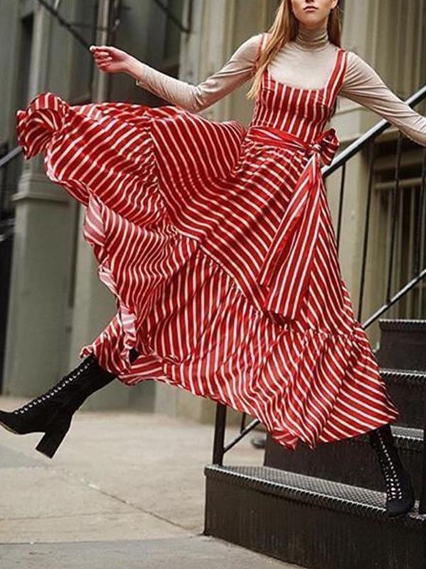 Sleeveless Striped Skater Long Vacation Dresses