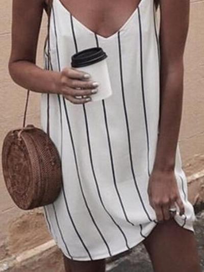 Chic Summer Strip Printed White Strap Shift Dresses
