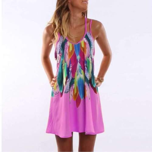 Casual Print V neck Vest Pocket Shift Dresses